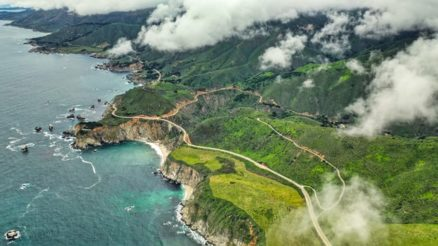 aerial image of central coast and bixby bridge